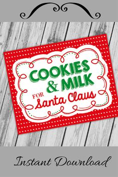 Printable Cookies & Milk For Santa Clause Instant Download #printables #etsy #ad