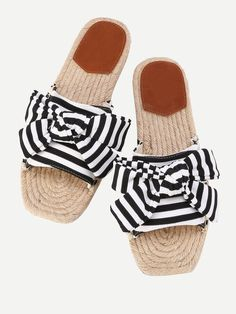 Shein Bow Tie Striped Flat Sliders