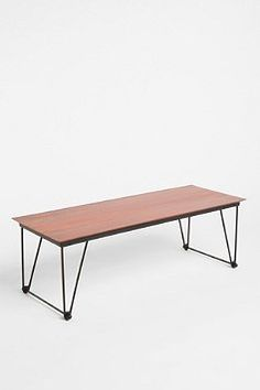 mango wood table with hairpin legs Table Legs, Wood Table, Bar Furniture, Furniture Design, Coffee Table Urban Outfitters, Contemporary Coffee Table, Man Room, Farmhouse Table, Home Decor Inspiration