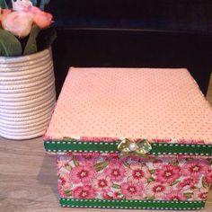 Caixa quadrada de mdf Estampa floral