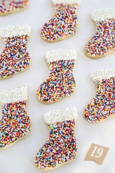 Gift This! Sprinkle Stocking Sugar Cookies - Sprinkle Bakes Gift This! Sprinkle Cookies, Sugar Cookies With Sprinkles, Lemon Sugar Cookies, Cute Christmas Cookies, Christmas Sprinkles, Christmas Snacks, Xmas Cookies, Summer Cookies, Baby Cookies