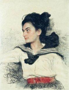 Ilya Repin, Portrait of Maria Osipovna Lowenfeld - Technique: charcoal Dimensions: 64 x 49 cm