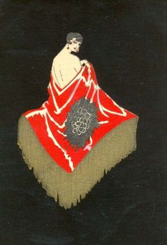 """sydneyflapper: """" Wearing a red shawl - 1920s playing card """""""