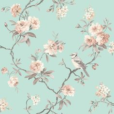 Chinoiserie Floral Wallpaper Duck Egg (FD40768)
