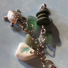 Seaglass and Beach Stone Keychain Green by KreationsfromKaos, $17.50