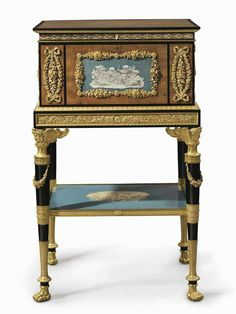 LATE LOUIS XVI ORMOLU-MOUNTED BOIS CITRONNIER AND EBONY JEWEL CASKET-ON-STAND INSET WITH GRISAILLE-PAINTED PANELS MADE CIRCA 1792-1801 UNDER THE DIRECTION OF HENRI AUGUSTE AFTER DESIGNS BY JEAN-GUILLAUME MOITTE, THE CABINET-WORK ATTRIBUTED TO ADAM WEISWEILER, THE PAINTED PANELS BY SAUVAGE, THE FLORAL MOUNTS ATTRIBUTED TO FRANCOIS REMOND.