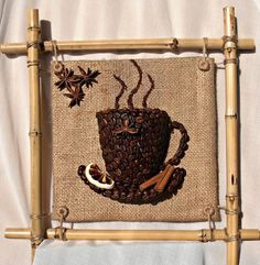 картина из кофе и шпагата