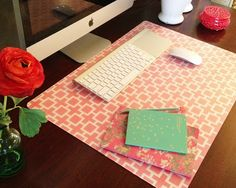DIY Custom Desk Pad using Ikea PRÖJS clear desk pad, wrapping paper and spray adhesive: A Little Tipsy