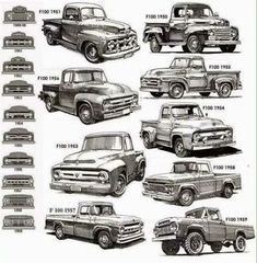 and gen Ford pickup ID chart - Cars, Trucks & Tank - Truck Old Pickup Trucks, Old Ford Trucks, Jeep Pickup, Lifted Trucks, Lifted Ford, Bicicletas Raleigh, Classic Ford Trucks, Truck Art, Old Fords