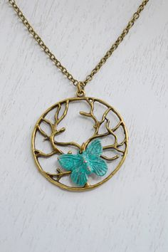Tree of Life Necklace, Tree Necklace,Tree of Life with Butterfly Necklace,Patina Verdigris Butterfly,Insect Charm Necklace Jewelry