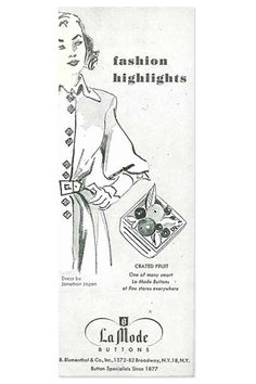 ButtonArtMuseum.com - One of the many smart La Mode Buttons at fine stores everywhere #buttons #tbt #vintage #sewing #fashion
