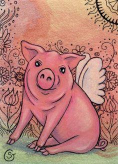 Pig Angel Zentangle Watercolor Original ACEO ART Flower Wings Spring Goeben #Realism