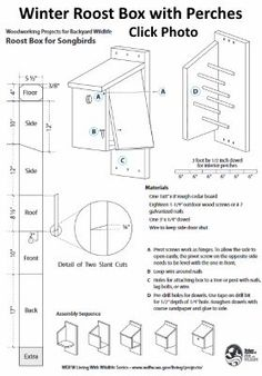 Easy, free winter bird house plans provide a winter bird roost or shelter during the cold months. Build a warm roost box for your feathered friends! Bluebird House Plans, Bird House Plans Free, Bird House Kits, Bird Bath Heater, Heated Bird Bath, Wooden Bird Houses, Bird Houses Diy, Bird Nesting Material, Martin Bird House