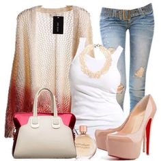 Jeans knit sweater and heels