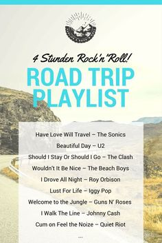 Roadtrip Playlist: Let's Rock On the way on the road trip my rock playlist is used. Since I can sing along almost every song (luckily no one hears …). And memories come to me of beautiful moments that I associate with some songs … Travel Songs, Travel Music, Road Trip Playlist, Song Playlist, Road Trip Essentials, Road Trip Hacks, Roadtrip Europa, Rock And Roll, Drive All Night