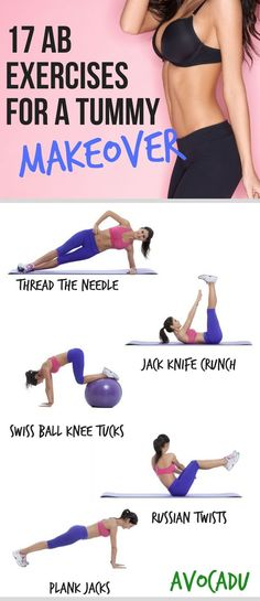 17 Ab Exercises for a Tummy Makeover | Lose Belly Fat | Fat-Burning Ab Workouts | http://avocadu.com/ab-exercises-for-a-tummy-makeover/