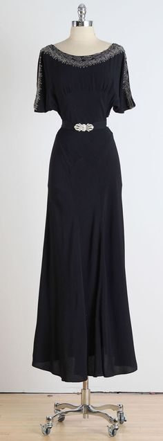 1930s Black Crepe Dress with Deco Belt | From a collection of rare vintage evening dresses