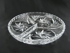 Crystal Glass Round 3 Sectioned Dish, Tri Divided Round Plate Serving Condiment Tray Snacks Candy Bowl American Brilliant Cut Pinwheels OOAK by BelleBloomVintage on Etsy