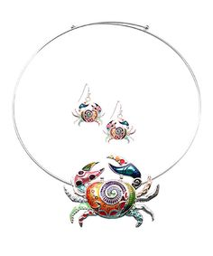 Look at this Silvertone Rainbow Crab Pendant Choker & Earrings on #zulily today!