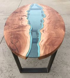 Sycamore River Glass Table by Brent Villella Epoxy Table Top, Epoxy Wood Table, Woodworking Projects Diy, Custom Woodworking, Woodworking Books, Woodworking Machinery, Pine Coffee Table, Resin Furniture, Furniture Design