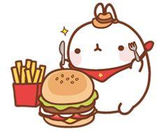 (๑・㉨・๑) ✮ ANIME ART ✮ Molang Eating Burger and Fries