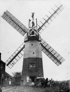 Smock you mill,St Margaret's,near Felixstowe, Suffolk c 1910.The tower still stands but without sails and looks rickety.