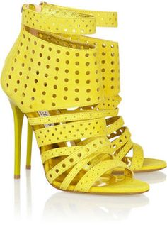 Hello Yellow! Jimmy Choo Malika perforated suede #sandals
