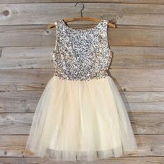 Spool 72 Golden Sugar Party Dress Gorgeous gold sequined dress with tulle skirt and a low v-back, PERFECT for prom, homecoming, parties, and whatever else (: Spool 72 Dresses