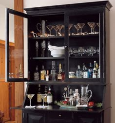 Beverage Centers Beyond Built Ins and Bar Carts - Shine DIY & Design China Cabinet Bar, Bar Hutch, Desk Hutch, Armoire Bar, Hutch Redo, Bookcase Desk, Dining Hutch, Hutch Makeover, Dining Chair