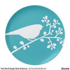 Teal Mod Single Bird & Berries {pick your color} Plate