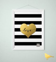 Faux Gold foil print - Heart Black and white Stripes with cursive love - Faux Gold Foil Wall Art - Print, Artwork, Stripes