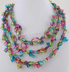 Free Crochet Pattern: Ladder Ribbon Necklace Pattern 6