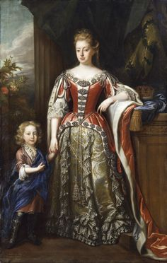 Portrait of Elizabeth Percy, Duchess of Somerset with her son Algernon, by John Closterman, c. 1692. ©National Trust Images/Matthew Hollow. [The gown to copy to the best of my ability and finances.]