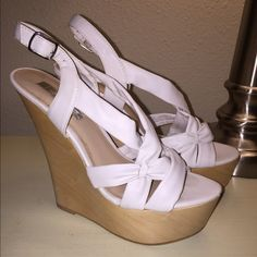 White wedges Sky high white wedges. Perfect for showing spring time pedicures! H by Halston Shoes Wedges