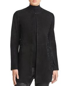 Elie Tahari Ellis Lace Panel Suede Coat