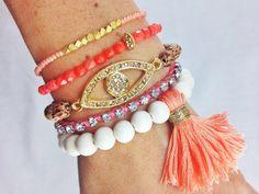 Coral Crush Boho Bracelet Stack Arm Candy Stacked por dAnnonEtsy, $45.00