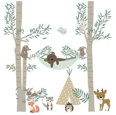 This tribal forest camping wall decal will transform the look of your room quickly and easily! And, they are repositionable! Tree 1 108 h x 50 w Tree 2 108 h x 45 w Teepee 34 h x 23w Hammock with bear 41 w Deer 20 w x 15h Fox Raccoon Hedgehog 2 Owls 2 Squirrels 1 Rabbit 5 Birds I can