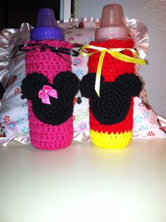 Minnie or Mickey Mouse Baby Bottle  Cozy - Made to Order - Crocheted on Etsy, $7.00