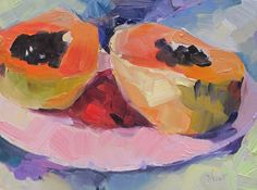Papaya---oil on panel, fruit painting, papaya, abstract realism, one of a kind--Pre order