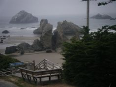 Bandon, Oregon.  I just walked down those stairs last week!  Look closely...Face Rock is in the background.