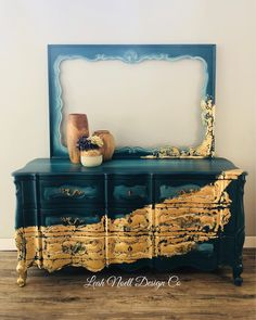 Let me tell you something about this mahogany dresser....it has more gold on it than Todd Hoffman found in the last 4 seasons of Gold Rush!! Can you not help but crush all over this royal blue and gold combination 💛. #availablenow #diychalkpaint #debisdesigndiary #colormovement #dothedionne #ispruceditup #trashure #furnituremakeover #goldrush #parkerschnabel #goldleaf #leahnoelldesignco