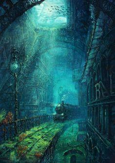 The forgotten legacy of Gustav Eiffel - Michael Raaflaub Illustration Fantasy Places, Fantasy World, Anime Fantasy, Dark Fantasy, Fantasy Artwork, Fantasy Concept Art, Fantasy Landscape, Stock Foto, Atlantis