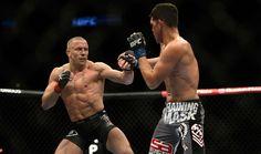 Le gala UFC158 - Lors de la finale de la soirée, Georges St-Pierre (gauche) a défait facilement Nick Diaz par décision unanime des juges. Photo Martin Chevalier / Agence QMI