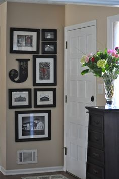 frame idea for a small wall, I have that letter in an E from Hobby Lobby! Just add some frames full of pictures of the house being built and I have a small wall covered! Home Design, Interior Design, Wall Design, Decoration Entree, Home And Deco, My New Room, Home Projects, Small Spaces, Diy Home Decor