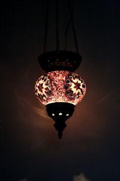 BEAUTIFUL DECORATIVE MEDIUM HANDMADE TURKISH MOSAIC HANGING LAMP FROM IZMIR     BARGAIN PRICE!     MADE FROM VARIOUS MOSAIC PIECES OF COLOURED GLASS