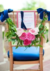 Perfect for a spring wedding, this garden rose chair features treatment by Cole Dewey Events with custom paper by Occasions in Events by Morgan's tabletop.  Photo by Ely Fair Photography.