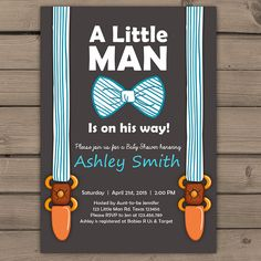 Little Man Baby Shower invite Baby Shower invitation Baby Boy on his way Bow Suspenders Tie Cute Stripes Blue Brown Digital Printable DIY