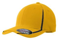 511efa5f96ef3 Sport-Tek STC16 Flexfit Performance Colorblock Cap - Gold Black - L XL