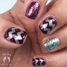 Purple & Silver Chevron Nails