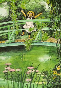 Postkarten mit Illustrationen von Lena Anderson, Lennea im Garten des Malers